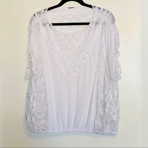 Free People | White Boho Lace Top | Size L